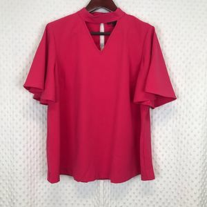Lane Bryant V- Shaped Front Cut Out Top Hot pink
